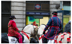 Parade 2015 Horses outside Green Park Station photography by Jo Monck